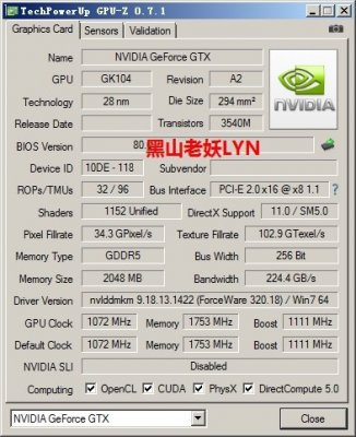 NVIDIA GeForce GTX 760 GPU-Z